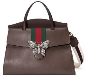Gucci Large Linea Totem Leather Satchel - Black - BLACK - STYLE