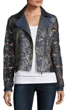 Elie Tahari May Lace Moto Jacket