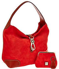 Dooney & Bourke Suede Hobo with Logo Lock and Accessories - ONE COLOR - STYLE