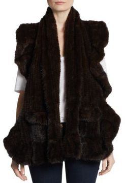 Saks Fifth Avenue Knit Mink Shawl