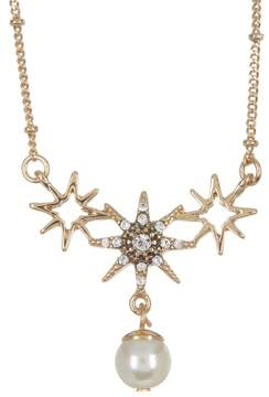 Jenny Packham Prong Set Glass Crystal Star with Imitation Pearl Pendant Necklace