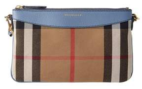 Burberry House Check & Leather Clutch Bag. - BLUE - STYLE