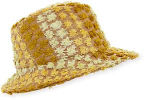 Federica Moretti Clo Frayed Canvas Fedora Hat, Yellow