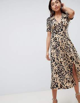 Asos Design Animal Print Midi Tea Dress