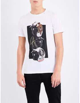 Replay Helmet-print cotton-jersey T-shirt