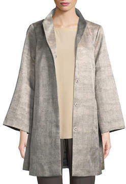 Eileen Fisher Disguise Jacquard Funnel-Neck Jacket