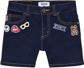 Moschino Dark Wash Badge Branded Denim Shorts