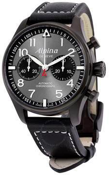 Alpina Startimer Pilot Chronograph Grey Dial Leather Men's Watch