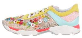Rene Caovilla Floral Lace Low-Top Sneakers