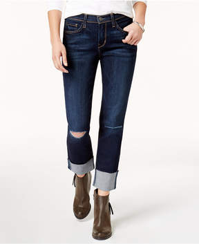Flying Monkey Ripped Cuffed Straight-Leg Jeans