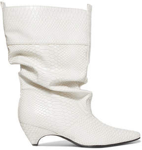 Stella McCartney Snake-effect Faux Leather Boots - White