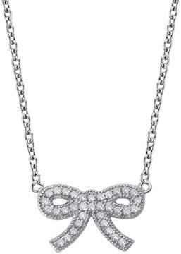 Crislu CZ Pave Bow Pendant Necklace