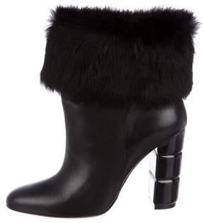 Salvatore Ferragamo Fur-Trimmed Ankle Boots