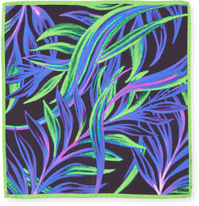 Bugatchi Neon Leaves Silk Pocket Square