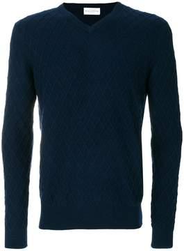 Ballantyne lattice v-neck jumper