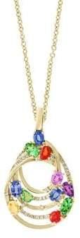 Effy Watercolors Diamond, Sapphire and 14K Yellow Gold Pendant Necklace