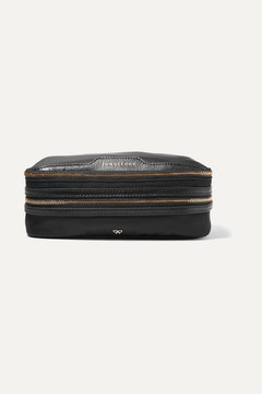 Anya Hindmarch Textured Leather-trimmed Shell Jewelry Case - Black