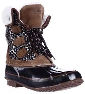 Khombu Jenna Fleece Lined Mid Calf Winter Boots, Black/tan.