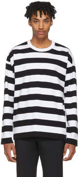 Ami Alexandre Mattiussi Black and White Long Sleeve Striped T-Shirt