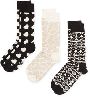 Happy Socks Men's Hearts & Geometric Print Socks (3 PK) - Size 10-13