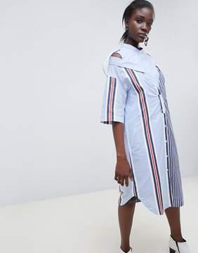 Asos Mixed Stripe Drop Shoulder Shirt Dress