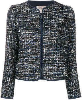 Armani Collezioni tweed zipped jacket