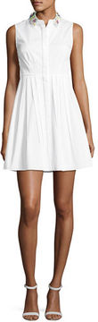 Elie Tahari Samiyah Sleeveless Pleated Dress w/ Embellished Collar
