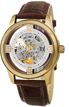 Stuhrling Original Mens Brown Strap Watch-Sp15353