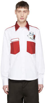 Acne Studios White and Red Spilled Cocktail Seattle Shirt