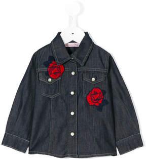 Miss Blumarine rose embroidered shirt