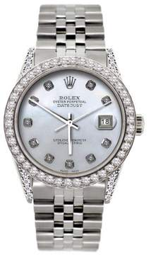 Rolex Datejust Stainless Steel 2.5ct Diamond With White Mother Of Pearl Dial 36mm Mens Watch