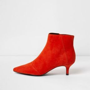 River Island Womens Red pointed kitten heel ankle boots