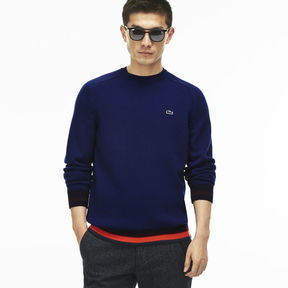 Lacoste Men's Crew Neck Wool Jersey Sweater With Striped Accents