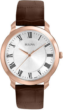 Bulova Men's Brown Leather Strap Watch 41mm 97A107