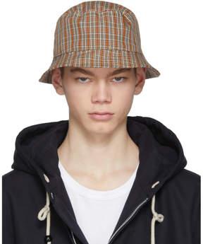 Acne Studios Red and Orange Check Buk Bucket Hat