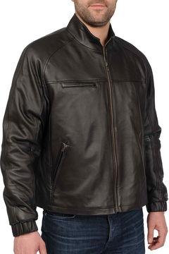 JCPenney R And O Diamond-Stitch Lambskin Leather Jacket-Big & Tall