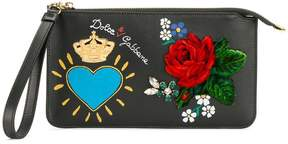 Dolce & Gabbana print and appliqué clutch bag - BLACK - STYLE