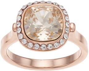 Brilliance+ Brilliance 14 Rose Gold Plated Halo Ring with Swarovski Crystals