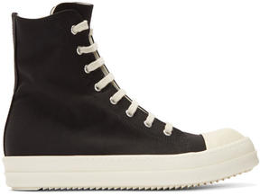Rick Owens Black Nylon Canvas Cap Toe High-Top Sneakers