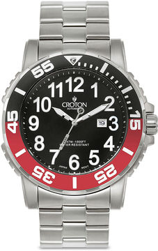 Croton Mens Black and Red Stainless Steel Strap Watch