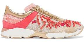 Rene Caovilla Rene' Caovilla Embellished Leather And Lace Sneakers