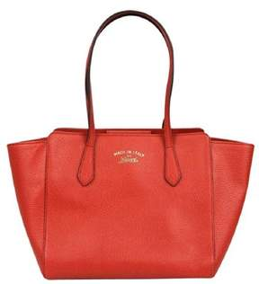 Gucci Red Leather Small Swing Trademark Tote. - RED - STYLE