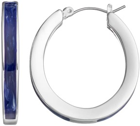 Chaps Blue Nickel Free Oval Hoop Earrings