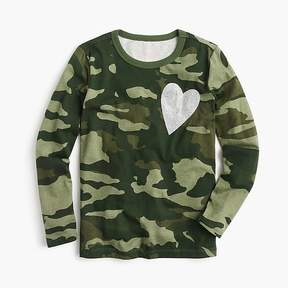 J.Crew Girls' long-sleeve camo-print heart T-shirt