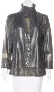 CNC Costume National Leather Distressed Jacket