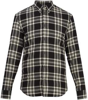 Maison Margiela Point-collar checked cotton shirt