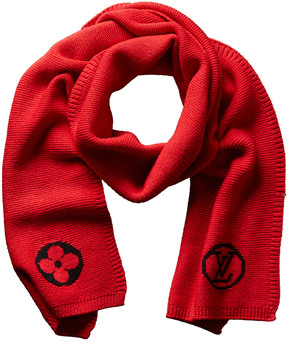Louis Vuitton Red Wool College Scarf