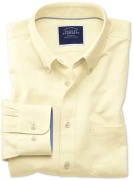 Charles Tyrwhitt Slim Fit Button-Down Washed Oxford Plain Light Yellow Cotton Casual Shirt Single Cuff Size Medium