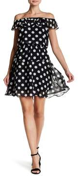 Betsey Johnson Off-the-Shoulder Chiffon Dot Dress