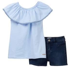 Hudson A-Line Flutter Sleeve Top & Shorts (Toddler Girls)